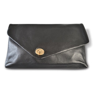 Centennial Park - Black Leather Evening Clutch Envelope Bag - Addison Road