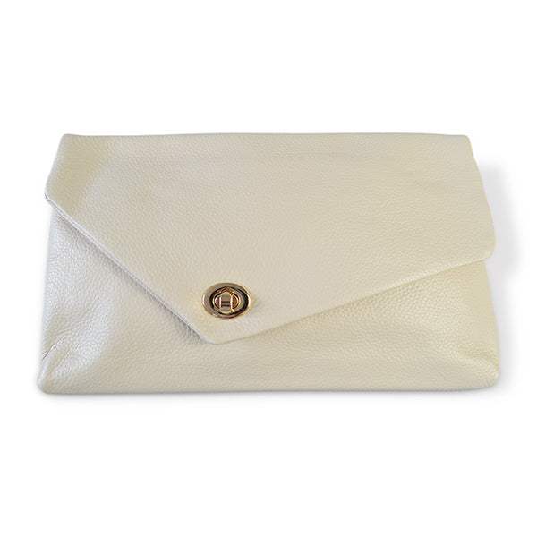 Centennial Park - White Leather Evening Clutch Envelope Bag - Addison Road