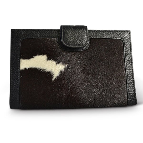 DARTBROOK- Addison Road Black and White Genuine Leather Cowhide Wallet
