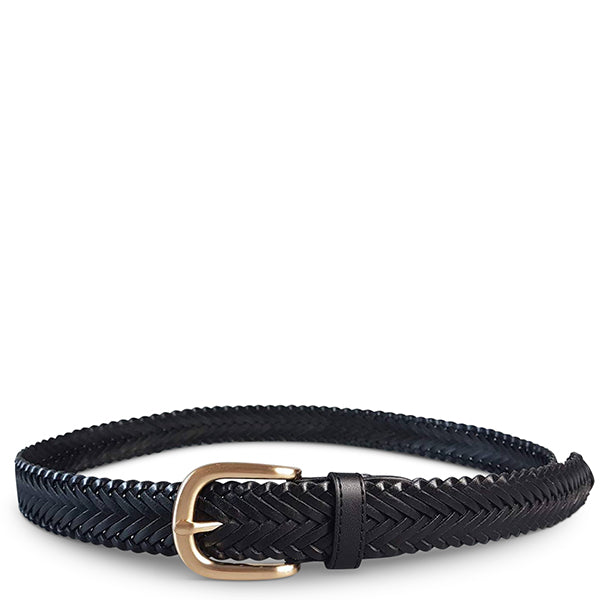 ERSKINVILLE- Womens Black Leather Braided Belt with Gold Buckle - Addison Road