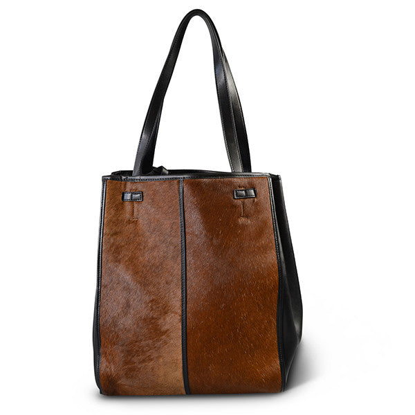 TOORAK- Addison Road Tan Brown Leather Hero Calfhair Tote Bag - Addison Road