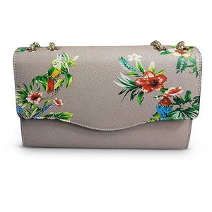 IVANHOE - Addison Road Taupe Leather Clutch Bag with Tropical Print - Addison Road