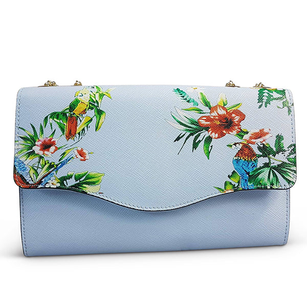 IVANHOE- Addison Road - Blue Leather Clutch Bag with Tropical Print - Addison Road
