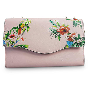 IVANHOE - Addison Road Blush Leather Clutch Bag with Tropical Print - Addison Road