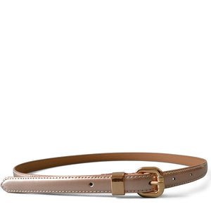 Queens Park - Womens Skinny Rose Gold Patent Leather Belt with Gold Buckle - Addison Road