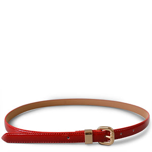 Queens Park - Ladies Red Skinny Patent Leather Belt - Addison Road