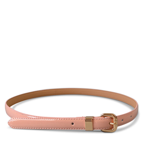 Queens Park - Womens Skinny Pink Patent Leather Belt with Gold Buckle - Addison Road