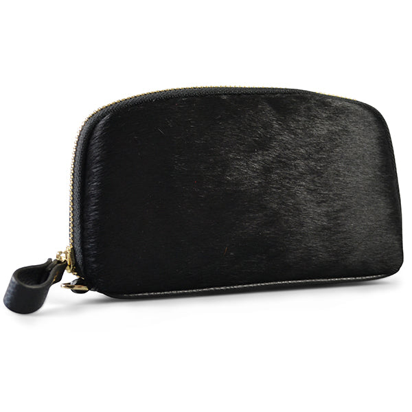 CARMICHAEL- Black Cowhide Leather Wallet Wrist Purse - Addison Road