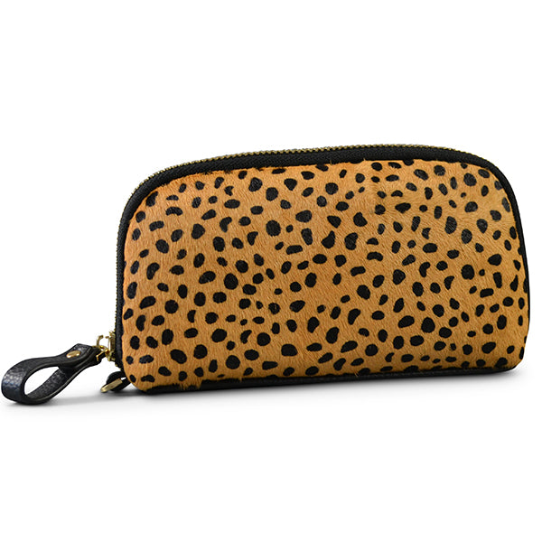 CARMICHAEL- Cheetah Cowhide Leather Wristlet Wallet - Addison Road