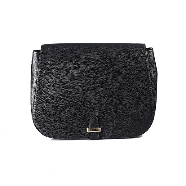 Albert Park Black Pebbled Leather Saddle Bag - Addison Road