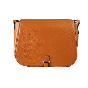 ALBERT PARK - Cognac Pebbled Leather Saddle Bag - Addison Road