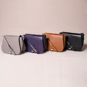 ALBERT PARK - Grape Pebbled Leather Saddle Bag - Addison Road