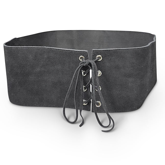 ARCADIA - Grey Leather Suede Corset Lace Up Waist Belt - Addison Road
