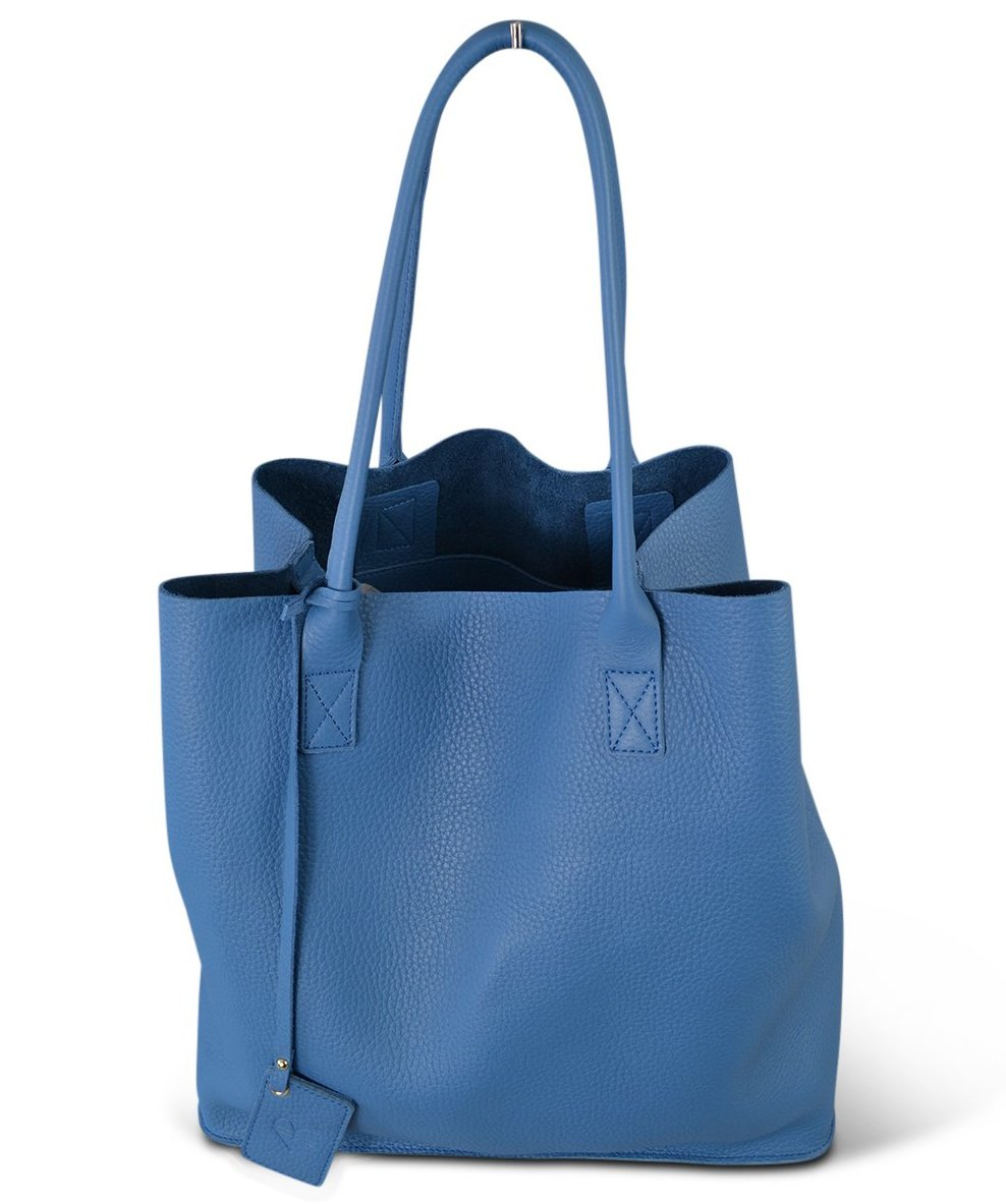 BIRCHGROVE - Light Blue Genuine Leather Shopper Slouch Tote - Addison Road