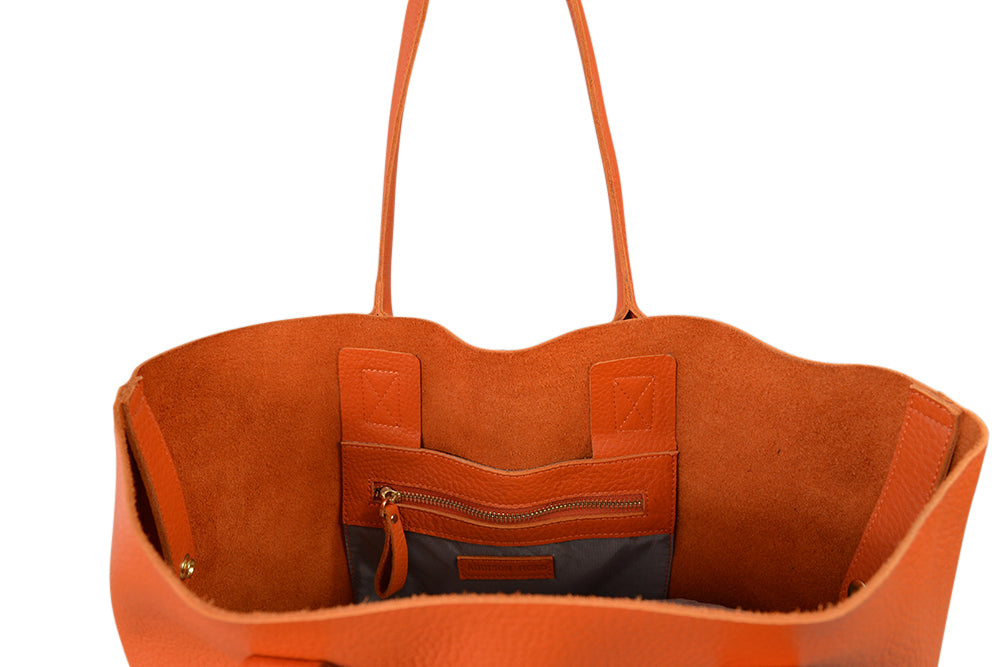BIRCHGROVE - Addison Road Orange Genuine Pebbled Leather Tote - Addison Road