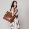 BIRCHGROVE - Tan Genuine Leather Shopper Slouch Tote - Addison Road