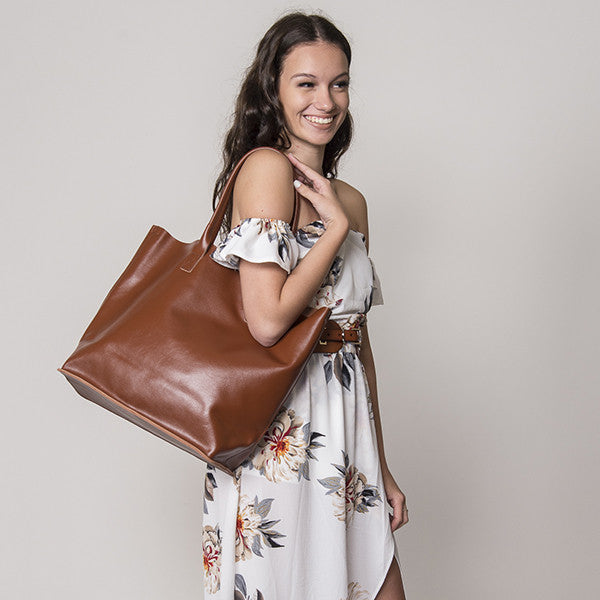 BIRCHGROVE - Addison Road Tan Genuine Leather Tote - Addison Road