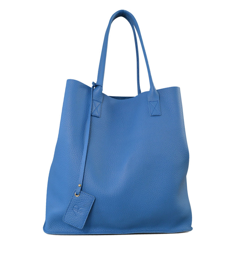 BIRCHGROVE - Light Blue Genuine Leather Shopper Slouch Tote