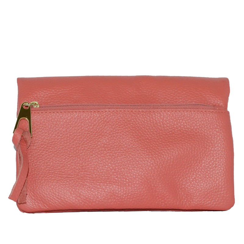 CREMORNE -  Ladies Pink Soft Pebbled Leather Fold Wallet Purse - Addison Road