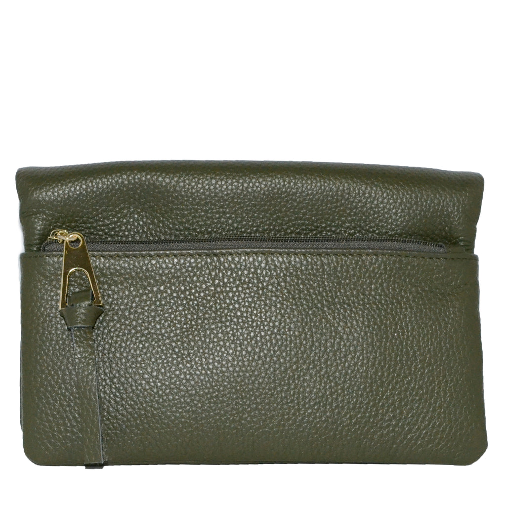 CREMORNE - Addison Road Emerald Soft Pebbled Leather Fold Wallet - Addison Road