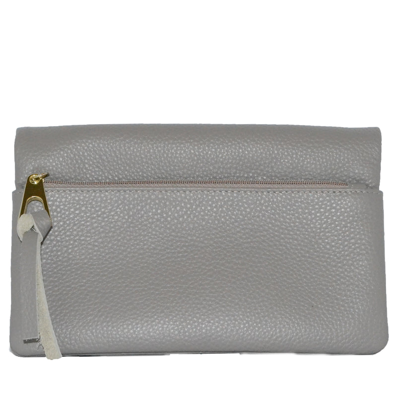 CREMORNE - Ladies Grey Soft Pebbled Leather Fold Wallet Purse - Addison Road