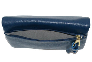 CREMORNE - Ladies Navy Blue Soft Pebbled Leather Fold Wallet Purse - Addison Road