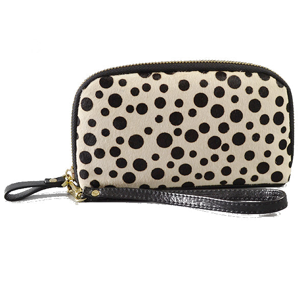 Carmichael- Ladies Snow Cheetah Cowhide Leather Wristlet Wallet - Addison Road