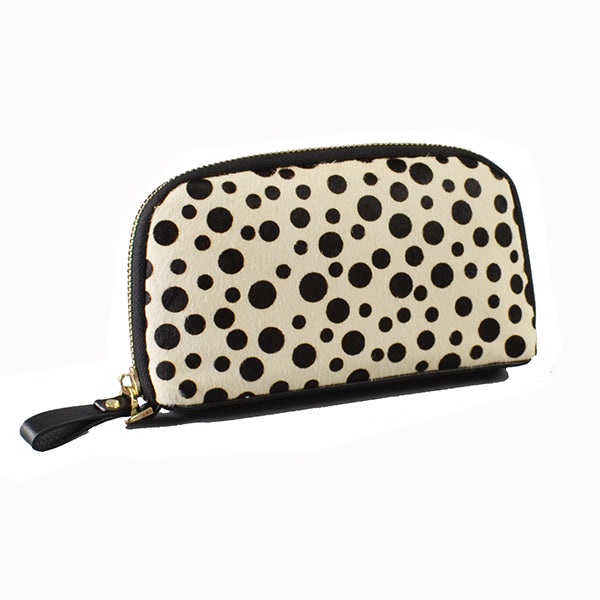 Carmichael- Cheetah Spots Cowhide Leather  Wristlet Wallet - Addison Road