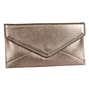 CASTLECRAG - Rose Gold Clutch with Zip Detail - Addison Road