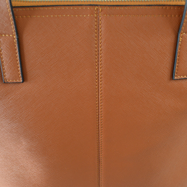 CHERMSIDE- Addison Road Tan Structured Saffiano Shopper