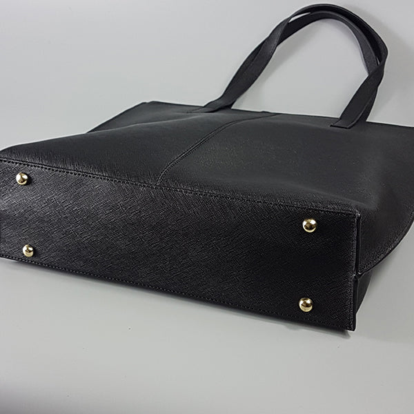 CHERMSIDE- Addison Road Black Structured Saffiano Shopper - Addison Road