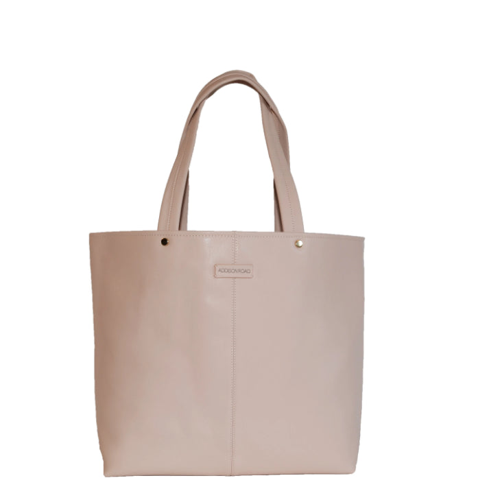 CORAL BAY-  Nude Soft Leather Shopper Tote Bag