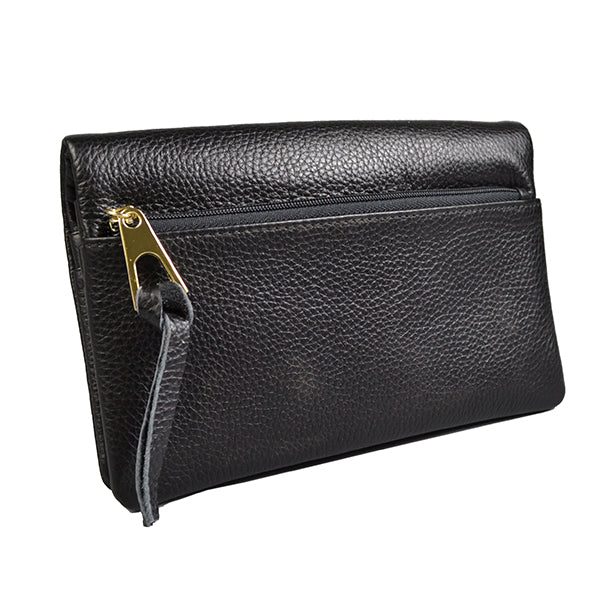 CREMORNE -  Ladies Black Soft Pebbled Leather Fold Wallet Purse - Addison Road