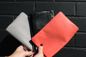 CREMORNE - Addison Road Coral Soft Pebbled Leather Fold Wallet - Addison Road