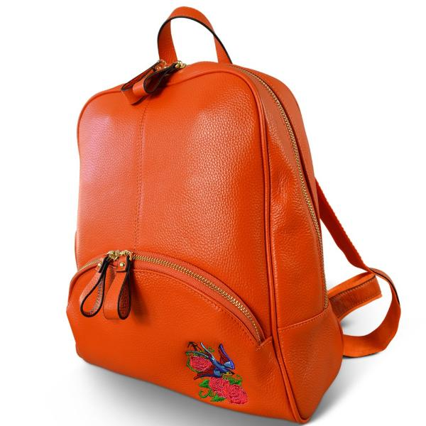 KINGSCLIFF - Womens Orange Embroidered Leather Backpack Convertible Handbag - Addison Road