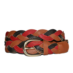 GEELONG - Ladies Multi Colour Leather Plaited Belt - Addison Road