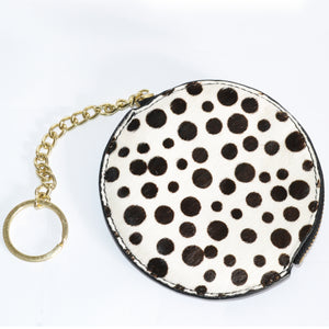 LORN- Addison Road Spot Calf Hair Key Ring Coin Purse in Gift Box - Addison Road