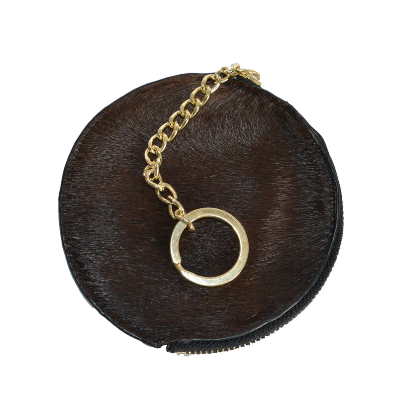 LORN - Ladies Dark Brown Calf Hair Gold tone Key Ring Coin Purse in Gift Box - Addison Road