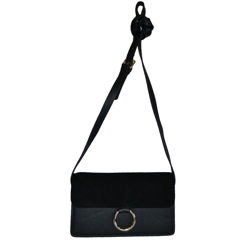 COBURG -  Black Pebbled Leather & Suede Mini Cross-body Shoulder Ring Bag - Addison Road