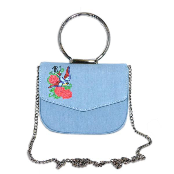 Abermain - Denim Ring Handle Saddle Cross Body Bag - Addison Road