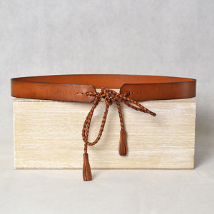DARLINGHURST - Tan Slim Leather Waist Belt with Braided tie