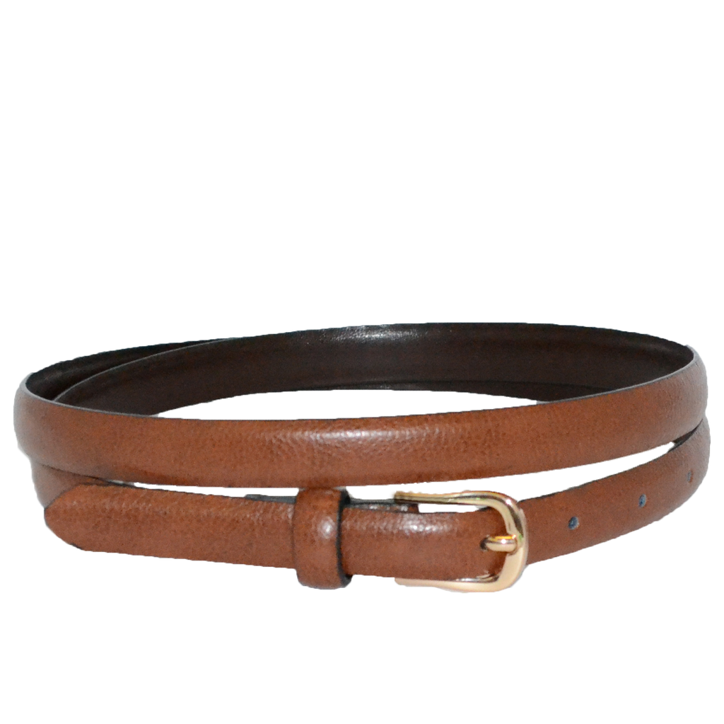 PIPER - Womens Tan Genuine Leather Skinny Belt - Addison Road