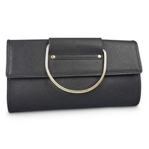 EDEN- Addison Road  - Black Structured Saffiano Ring Clutch - Addison Road