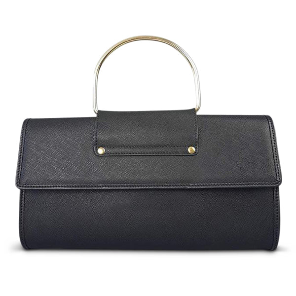 Addison Road - Black Structured Saffiano Ring Clutch