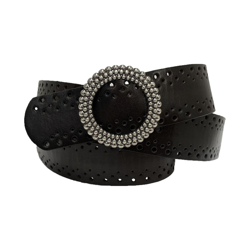 IRIS - Women's Black Genuine Leather Belt with Round Silver buckle