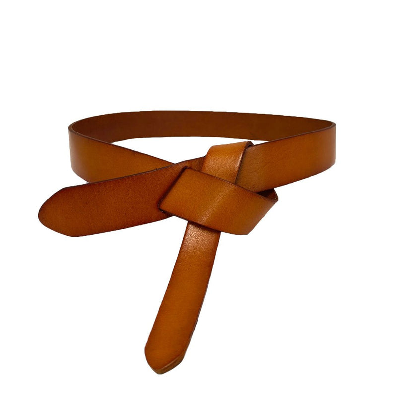ROCKDALE - Women's Tan Genuine Leather Knot Belt