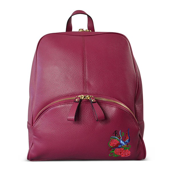 KINGSCLIFF - Womens Purple Embroidered Leather Backpack Convertible Handbag - Addison Road