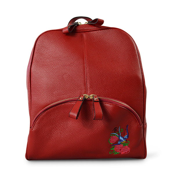 KINGSCLIFF - Womens Red Embroidered Leather Backpack Convertible Handbag - Addison Road