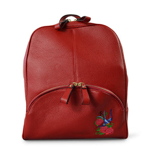 KINGSCLIFF- Addison Road  - Red Pebbled Leather Backpack - Addison Road