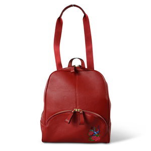 KINGSCLIFF - Red Leather Backpack Convertible Handbag - Addison Road